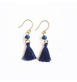 Earrings - Recycled Paper Bead Tassel, Galaxy Blue