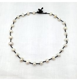 Necklace - Pearl Magdalena, black cord