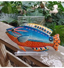 Painted Metal Fish, Medium - Haiti
