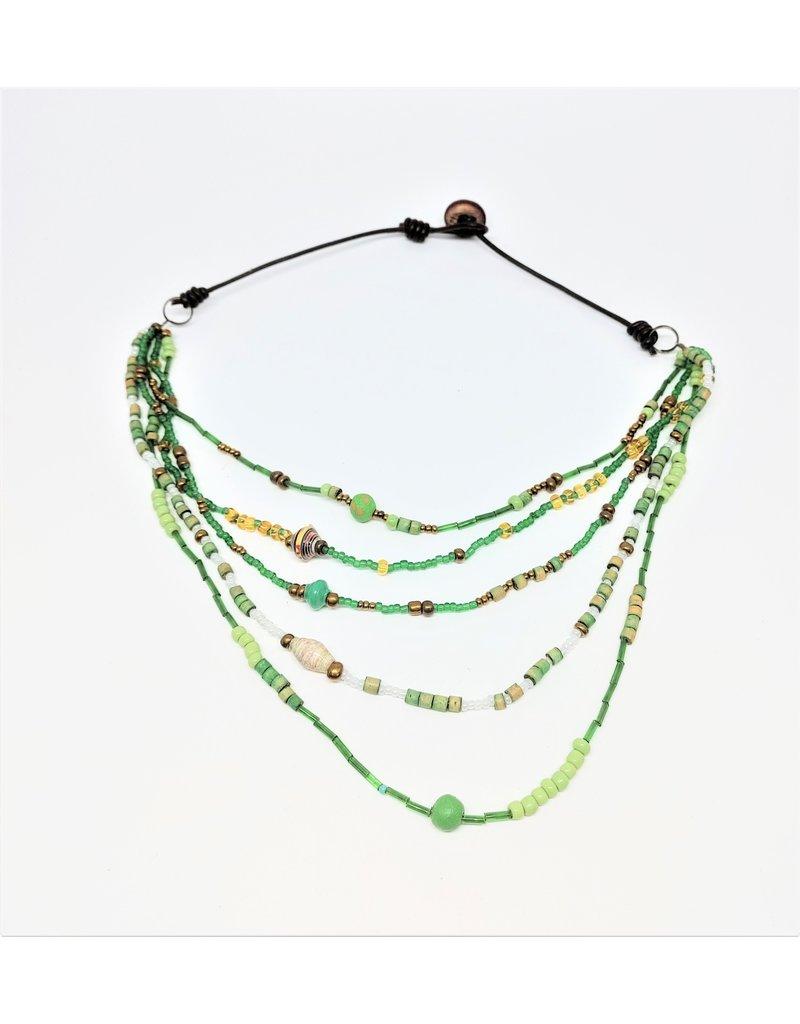 Necklace - Calliope Multistrand Green