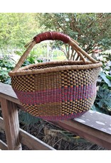 Large Round Market Basket, leather handle