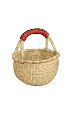 Mini Basket, Natural Color with Leather Handle