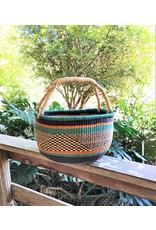 Large Round Market Basket with Woven Handle