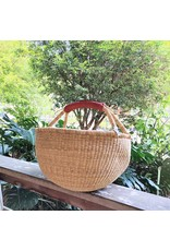 Large Round Market Basket, Natural Color with Leather Handle