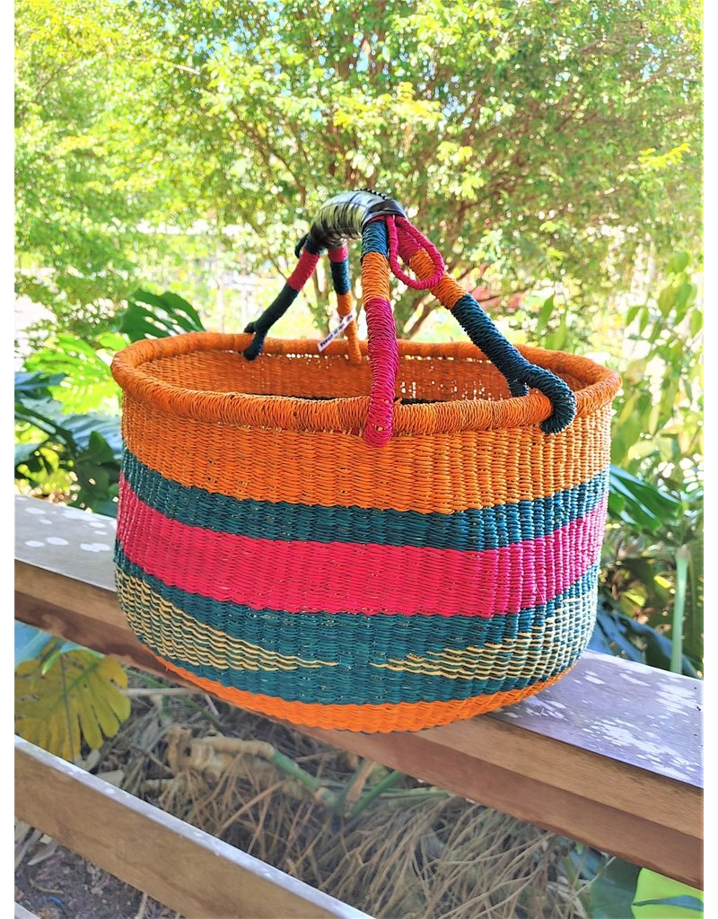 Large Round Market Basket with Recycled Rubber Handle