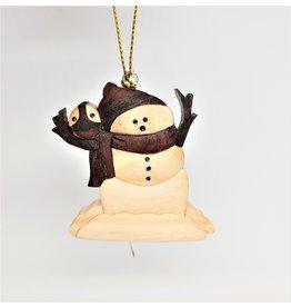Ornament - Wooden Snowman - Cambodia