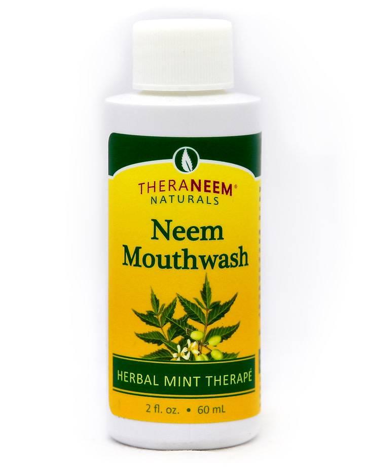 TheraNeem Neem Mouthwash - Alcohol Free Vegan Mint Travel Size 2 oz