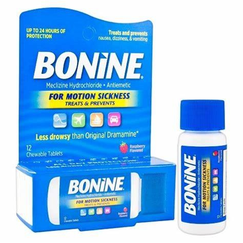 BONINE- Motion Sickness Rasberry Flavored 12 Chewable Tablets