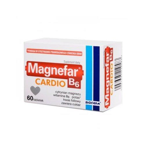 BIOFARM MAGNEFAR B-6 CARDIO Cytrynian Magnezu, Witamina B-6, Potas, Kwas Foliowy 60 tabl