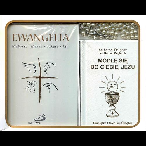 SWIETY PAWEL Zestaw Komunijny Bialy ( Ewangelia, Modlitewnik, Rozaniec)