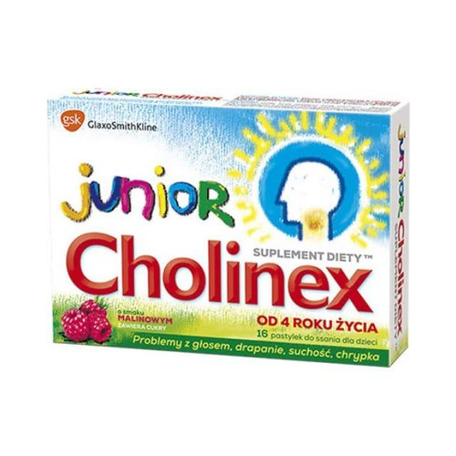 GLAXO SMITH KLINE CHOLINEX JUNIOR- Tabletki Do Ssania Dla Dzieci Smak Malinowy 16 pastylek
