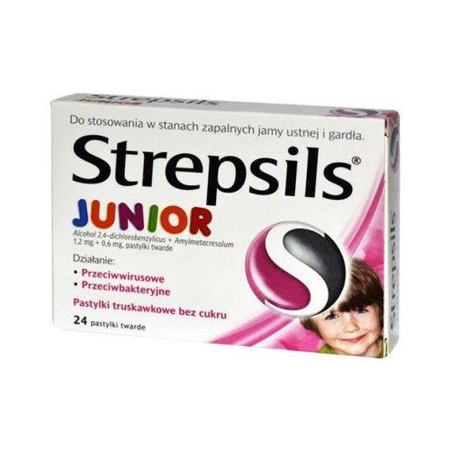 RECKITT BENCKISER STREPSILS- JuniorTabletki Do Ssania Smak Truskawkowy 24 pastylki