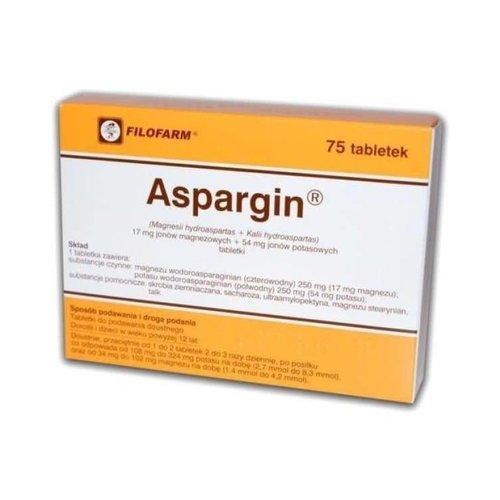 FILOFARM Aspargin 17 mg Jonow Magnezu i 54 mg Jonow Potasu 75 tabl