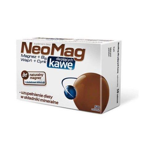 AFLOFARM NEOMAG- Dla Pijacych Kawe Magnez, Wit. B6, Wapn, Cynk 50 tabl