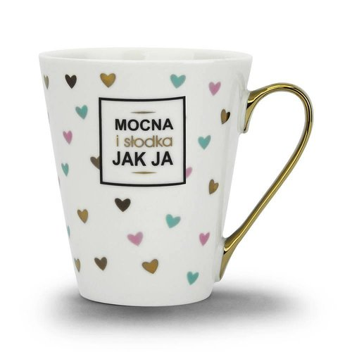 "BGTECH Kubek Ze Zlotym Uchem Kawa ""Mocna Jak Ja"""