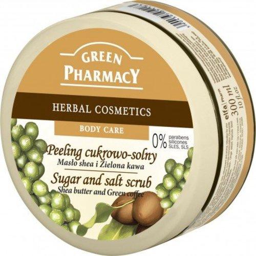ELFA PHARM GREEN PHARMACY - Peeling Cukrowo-Solny Maslo Shea i Zielona Kawa 300 ml