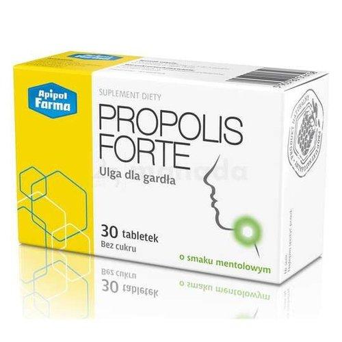 APIPOL FARMA PROPOLIS- Forte Ulga Dla Gardla Bez Cukru Smak Mentolowy 30 tabl