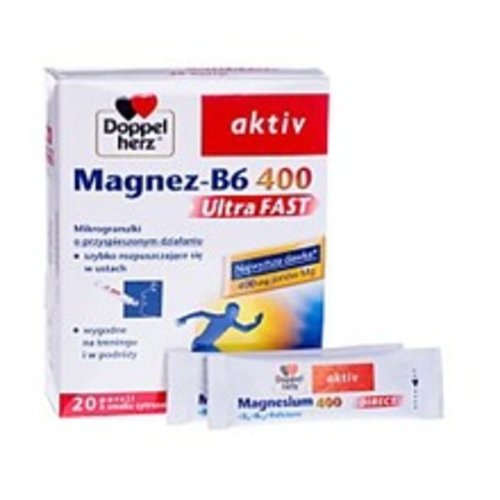 DOPPEL HERZ Magnez Wit. B-6 400 Ultra Fast Mikrogranulki o Przyspieszonym Dzialaniu 20 szt