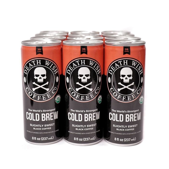 DEATH WISH COFFEE SLIGHTLY SWEETENED BLACK COLD BREW 12 PACK