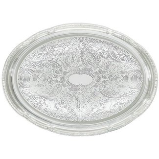 Winco Winco CMT-1014 Serving Tray, Oval, 14'' x 10'', Chrome Plated
