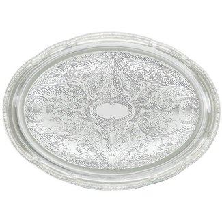 Winco Winco CMT-1318 Serving Tray, Oval, 18'' x 13'', Chrome Plated