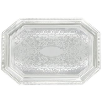 Winco Winco CMT-1420 Serving Tray, Octagonal 14'' x 20'', Chrome Plated