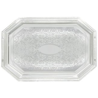 Winco Winco CMT-1217 Serving Tray, Octagonal, 12'' x 17'', Chrome Plated