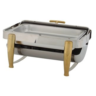 Winco Winco 101A Virtuoso 8qt Full-size Chafer, Roll-top, S/S, Gold Accent, Extra Heavyweight