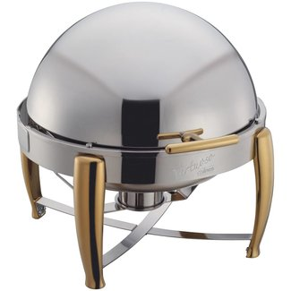 Winco Winco 103A Virtuoso 6qt Round Chafer, Roll-top, S/S, Gold Accent, Extra Heavyweight