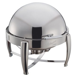 Winco Winco 103B Virtuoso 6qt Round Chafer, Roll-top, S/S, Extra Heavyweight