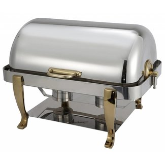 Winco Winco 108A Vintage 8qt Full-size Chafer, S/S, Gold Accent, Extra Heavyweight