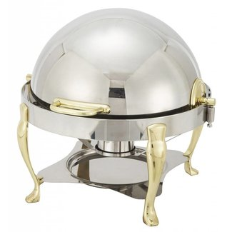 Winco Winco 308A Vintage 6qt Round Chafer, S/S, Gold Accent, Extra Heavyweight