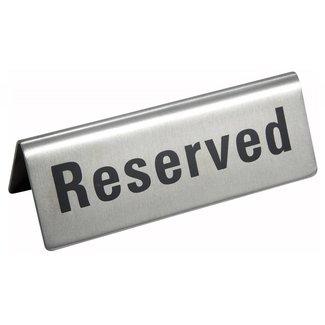 "Winco Winco RVS-4 Tent Sign, ""Reserved"", S/S"