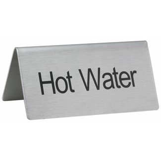 "Winco Winco SGN-104 Tent Sign, ""Hot Water"", S/S"