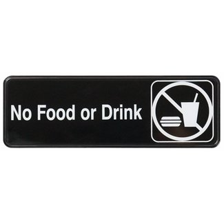 "Winco Winco SGN-333 Information Sign, ""No Food or Drink"", 3"" x 9"", Black"