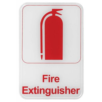 "Winco Winco SGN-682W Information Sign, ""Fire Extinguisher"", 6"" x 9"", White"