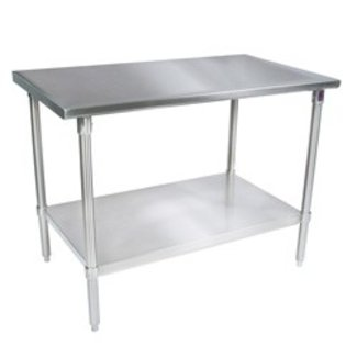 "John Boos John Boos Economy Work Table, 84""W x 24""D, 18/430 stainless steel flat top, 1-1/2"" Stallion Safety Edge on front & back FBLG8424-X"