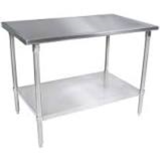 "John Boos John Boos ST6-3072SSK Stainless Steel 72"" x 30"" Flat Top Work Table with Adjustable Stainless Undershelf"