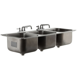 Advance Tabco Drop-in Sink 3 Compartment, 14x16x10 compartments DI-3-1410