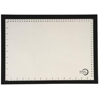 """Mercer Culinary Bake Mat, half size, 11-7/8"""" x 16-1/2"""", black border with printed measure marks in inches and cms, temperature resistant to 480°F/250°C, fits all standard half size sheet pans, silicone"""