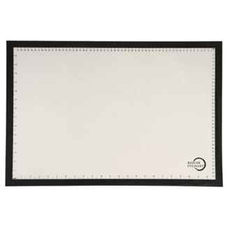 """Mercer Culinary Bake Mat, full size, 16-1/2"""" x 24-1/2"""", black border with printed measure marks in inches and cms, temperature resistant to 480°F/250°C, fits all standard full size sheet pans, silicone"""