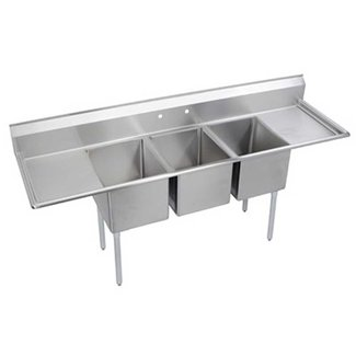 "Elkay 3C12X16-2-12X 64"" 3 Compartment Sink w/ 12""L x 16""W Bowl, 10"" Deep"