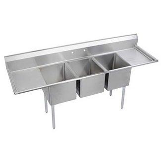 """Elkay 3C12X16-2-12X 64"""" 3 Compartment Sink w/ 12""""L x 16""""W Bowl, 10"""" Deep"""