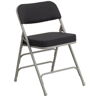 Flash Furniture Hercules Series Premium Folding Chair, 300 lb. weight capacity, pin-dot patterned fabric upholstered seat and back