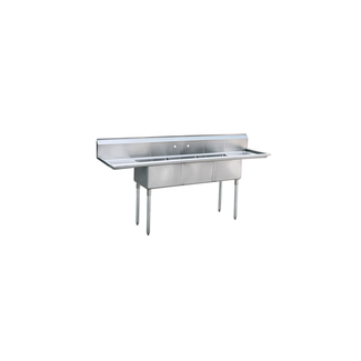 Atosa USA Atosa USA MRSA-3-D Three Comp. sink, 18'' right and left drainboards