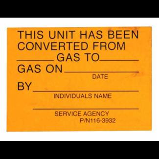 Allpoints Foodservice 801-0517 Gas Conversion Sticker