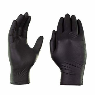 AMMEX Corp GlovePlus Black Nitrile PF Ind Gloves - Medium GPNB44100 single box 100 Gloves