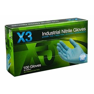 AMMEX Corp X3 Nitrile PF Ind Gloves - Small X342100 single box 100 Gloves