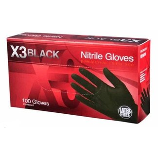 AMMEX Corp X3 Black Nitrile PF Ind Gloves - Medium BX344100 Single 100 Gloves