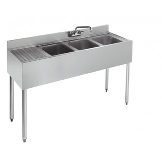 "Krowne Metal 21-43R - 2100 Series 48"" Three Compartment Bar Sink, 12"" Drainboard on Left"